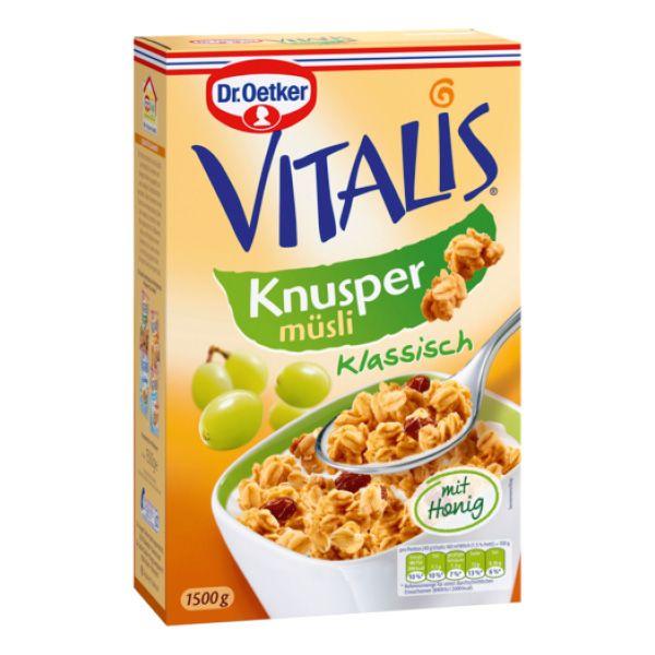 Vitalis chrumkavé müsli klasik s medom a hrozienkami 1,5 kg